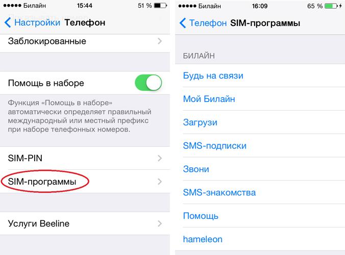 SIM меню на iOS